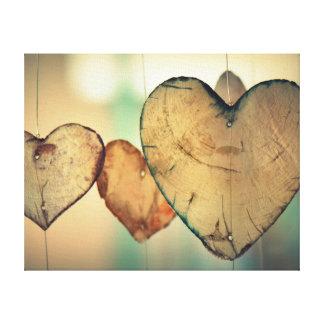 Love Heart Logs Canvas Print