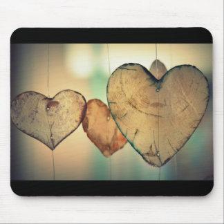 Love Heart Logs Mouse Mat