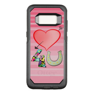 Love Heart Luck For You Girly Stripes Floral Pink OtterBox Commuter Samsung Galaxy S8 Case