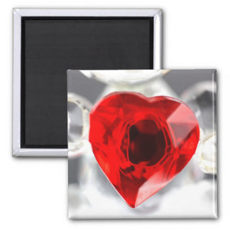 Love heart made of glass square magnet