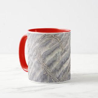 Love heart mug. Drawing on the beach Mug