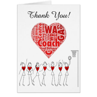 Love Heart Netball Coach Thank You Card