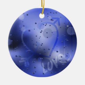 Love Heart on a rainy window Christmas Ornament