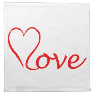 Love heart on white background napkin