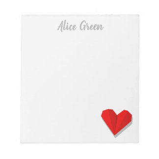 Love Heart Origami Illustration Notepad