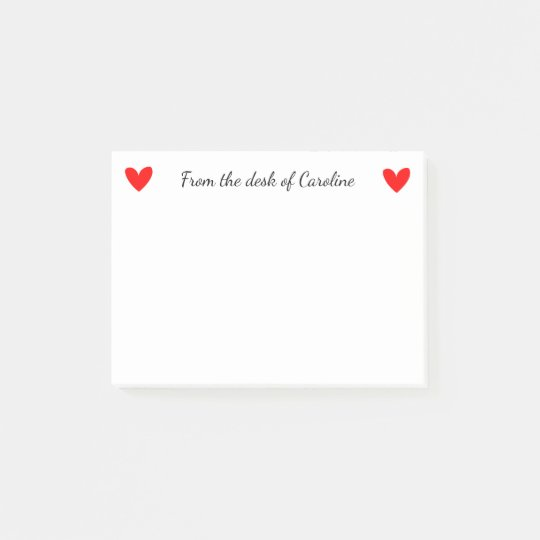 Love Heart Personalised Black And Red Post-it Notes