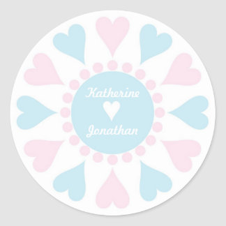 Love heart personalised name stickers