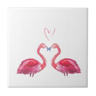 Love heart pink watercolour flamingos small square tile