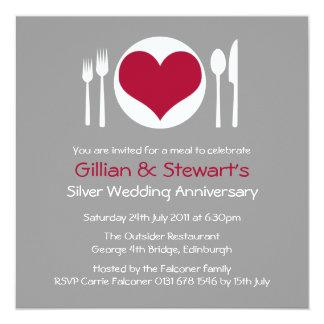 Love Heart Plate Anniversary Dinner Invitation