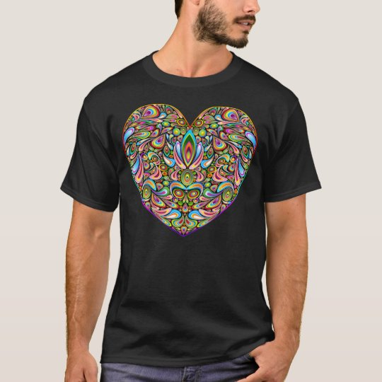 Love Heart Psychedelic Art Design Dark T-Shirt