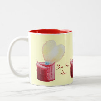 love heart red candle burning flame art Two-Tone coffee mug