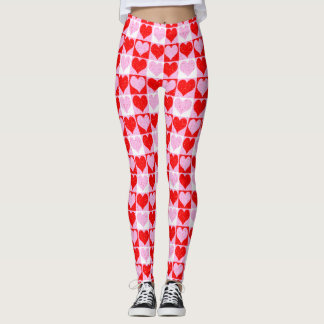 Love Heart Red Pink & White Check Pattern Leggings