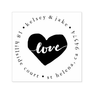Love Heart Return Address Self-inking Stamp