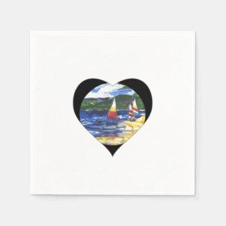 Love Heart Sail boats Paper Napkins