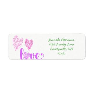 Love Heart Scribbles Valentine's Label