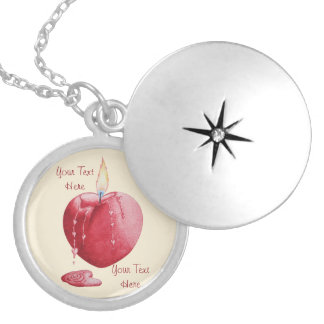love heart shaped flame red candle illustration round locket necklace