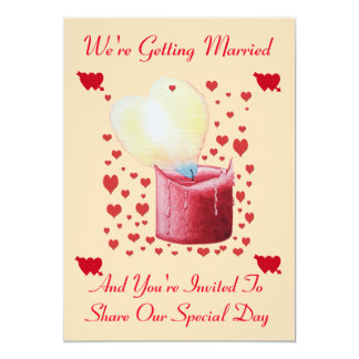 love heart shaped flame red candle wedding 13 cm x 18 cm invitation card