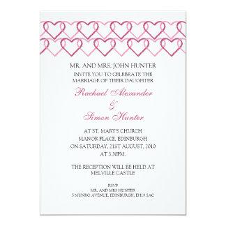 Love heart Stamp Wedding Invitiation -White 13 Cm X 18 Cm Invitation Card