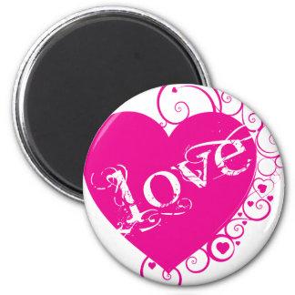 Love Heart Swirl Design Fridge Magnet
