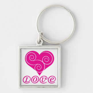Love Heart Swirl Design Keychain