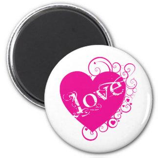 Love Heart Swirl Design Magnet