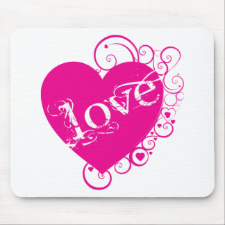 Love Heart Swirl Design Mousepad