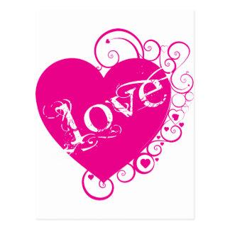 Love Heart Swirl Design Post Cards