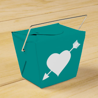 Love Heart Teal and White Love Heart Wedding Party Favour Box