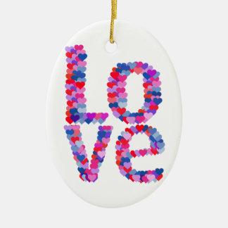 LOVE Heart Text Ornament