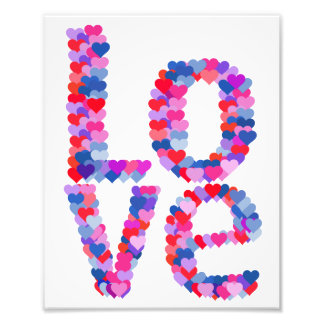 LOVE Heart Text Photo Print