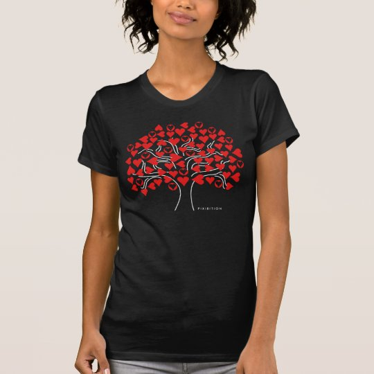 Love Heart Tree Black T-Shirt