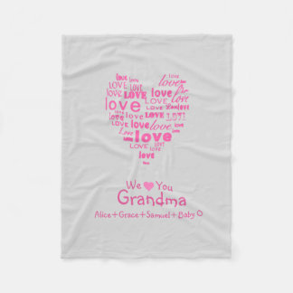 "Love Heart ""We Love You"" Any Color Personalized Fleece Blanket"
