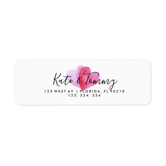 Love heart wedding return address label