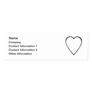 Love Heart with Scribble Edge. Pack Of Skinny Business Cards