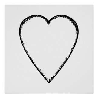 Love Heart with Scribble Edge. Poster
