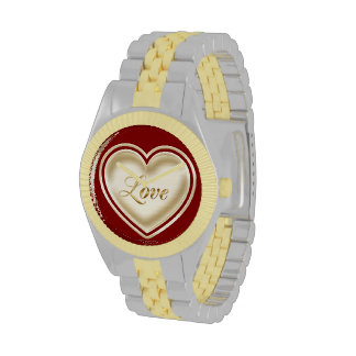Love heart with the word love wrist watch