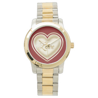 Love heart with the word love wrist watches