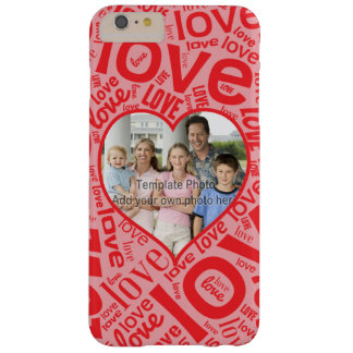 Love heart word art with photo template barely there iPhone 6 plus case