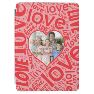Love heart word art with photo template iPad air cover