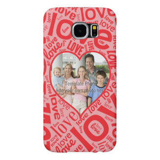 Love heart word art with photo template samsung galaxy s6 cases