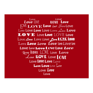 Love Heart Word Cloud - White on Dark Red Postcard