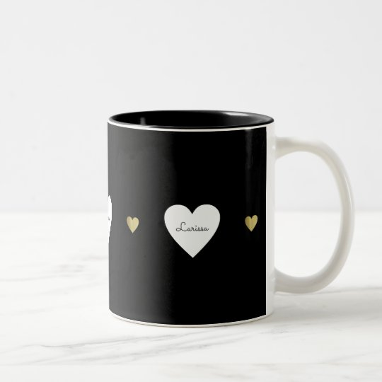 love hearts, a romantic & monogrammed black Two-Tone