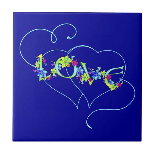 Love Hearts and Flowers Tile