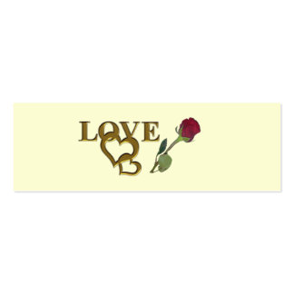 Love Hearts and Red Rose Skinny Registry Cards Pack Of Skinny Business Cards