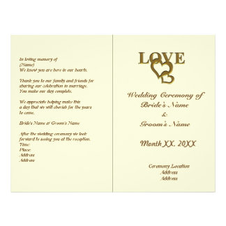 Love Hearts and Red Rose Wedding Foldable Program 21.5 Cm X 28 Cm Flyer