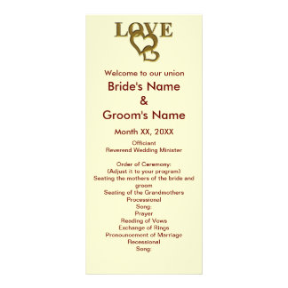 Love Hearts and Red Rose Wedding Rack Card