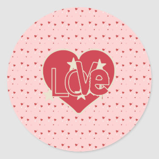 Love Hearts and Stars Round Sticker