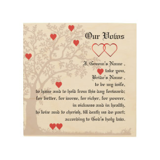 Love Hearts and Tree Wedding Vows Wood Wall Decor