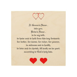 Love Hearts and Wedding Vows Wood Print