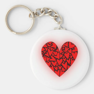 Love Hearts Basic Round Button Key Ring
